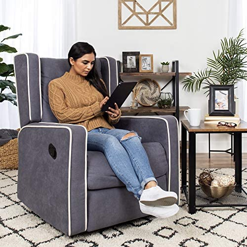 Best Choice Products Mid-Century Tufted Polyester Upholstered Recliner Rocking Chair w 360-Degree Swivel – Gray