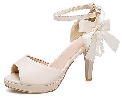 1cd862dbde4 SFNLD Women s Elegant Bowknot Beaded Peep Toe Platform High Chunky Heels  Buckled Ankle Strap Sandals Beige