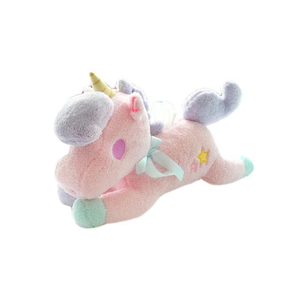 FLYING BALLOON Cute Blue Unicorn Shaped with Hat Plush Paper Extraction Boxes Tissue Box Napkin Holder Pumping Tray Doll for Home Car Decoration Best Gift for Kids Home Kitchen