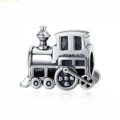 Train Charm 925 Sterling Silver Charm Beads for Fashion Charms Bracelet & Necklace (Silver Train Charm)