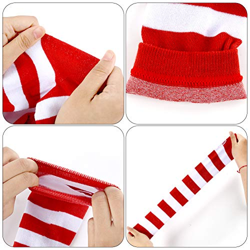 BigOtters Red and White Striped Socks, 2PCS Novelty Striped Costume Set Including Long Arm Warmer Fingerless Gloves and Over the Knee Socks for Women Girls Halloween Xmas Cosplay Team School Spirit Sp