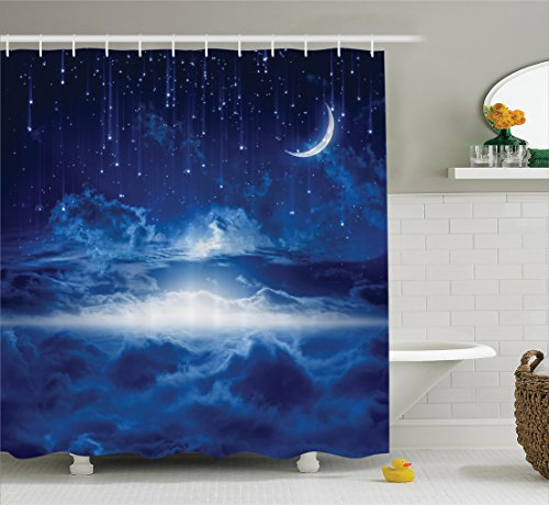 Ambesonne Fantasy House Decor Shower Curtain Set, Night Sky with Moon, Falling Stars, Clouds and Horizon Mysterious Space Art, Bathroom Accessories, 75 Inches Long, Navy White