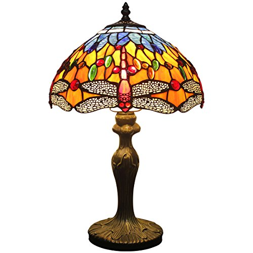 Tiffany style table lamp light S168 series 18 inch tall blue yellow dragonfly shade - Glass Light Shade Yellow