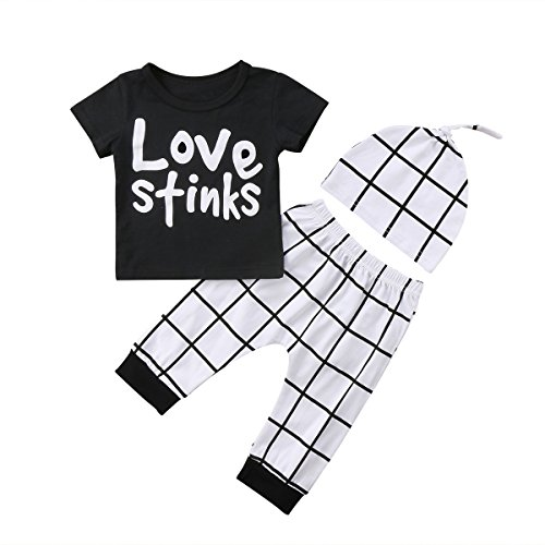 Short Hat Sleeve T-shirt Top (3 Pieces Toddler Infant Baby Love Stinks Word Letter Printed Short Sleeve T-Shirt Tops + Plaid Beanie Hat + Plaid Long Pants (18-24 Months))
