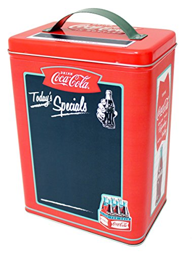 Collectors Storage Tin - The Tin Box Company 669207-12 Coca Cola Storage Tin with Chalkboard Front Surface