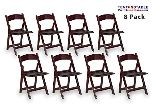 Mahogany Resin Plastic Heavy Duty 300-Pound Capacity Stackable Folding Event, Banquet, and Wedding Chairs (8-Pack)