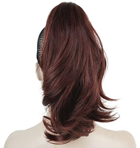 Lydell 12'' Dual Use Straight Curly Styled Clip In Claw Ponytail Hair Extension Synthetic Hairpiece 125g with a jaw/claw clip (#33A Dark Auburn) by Lydell