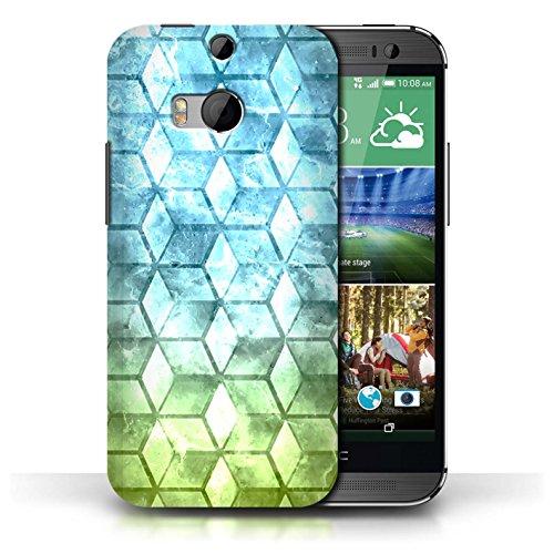 Etui / Coque pour HTC One/1 M8 / Bleu/verd conception / Collection de Cubes colorés