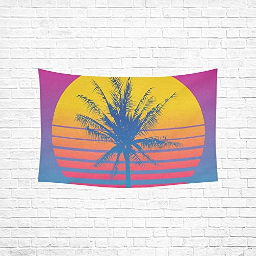 Jnseff Tapestry Palm Tree Silhouettes On Gradient Tapestries Wall Hanging Flower Psychedelic Tapestry Wall Hanging Indian Dorm Decor for Living Room Bedroom 6040inch (Wall Art Gordmans)