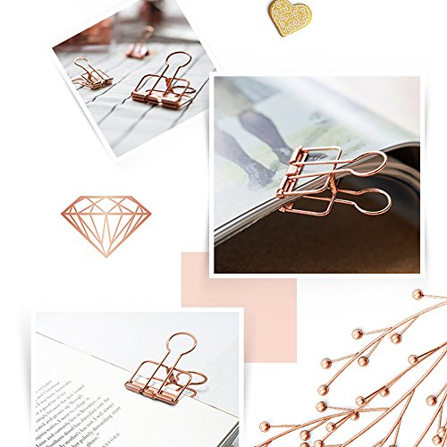 SOTOGO 15 Pcs Binder Clips and 60 Pcs Paper Clips, Assorted Size Rose Gold Clips With Storage Case by SOTOGO (Image #4)