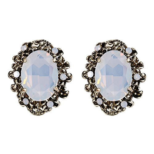 BriLove Women's Victorian Style Crystal Stud Earrings with Floral Scroll Cameo Inspired Oval Opal Color (Opal Vintage Earrings)