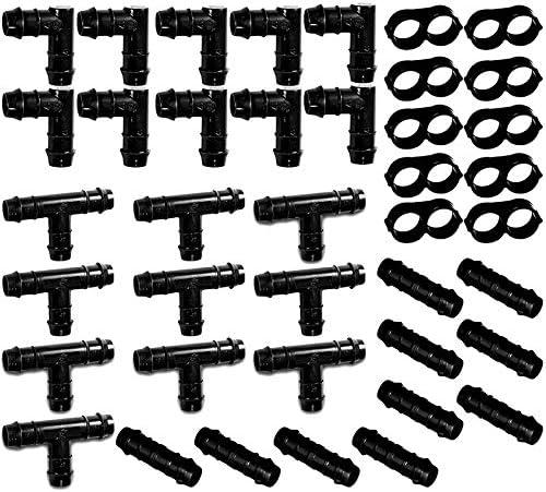 RETYLY 灌漑フィッティングキット 1/2インチのチューブ用-T型、カップリング、エルボー、エンドキャップ図 8プラグ-有刺鉄線コネクタ