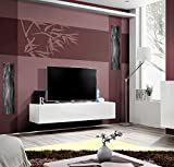 Seattle TV Stand for up to 70'' TVs – Total width of the stand 63 inches / High Gloss TV unit / European Design Floating TV stand / Modern TV Unit (White & White)
