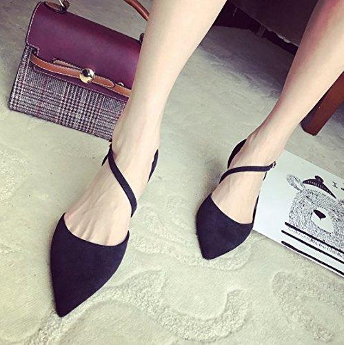 Solo 7cm Sexy 37 De zapato 37 Bien temperamento Negro La Suede Transpirable Sandalias Cabeza elegante talón altos Ajunr hebilla Una Moda palabra con el tacones afilada Twx1TSqvA
