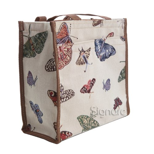 Shopper Signare alla Moda in Tessuto Stile Arazzo Donne Ragazze Farfalla