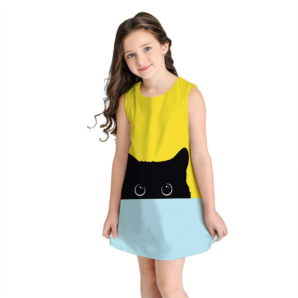 MIARHB Cute Girl's 3D Print Dress, Baby Dresses Summer Sleeveless Round Neck Dress School Party Casual Sundress
