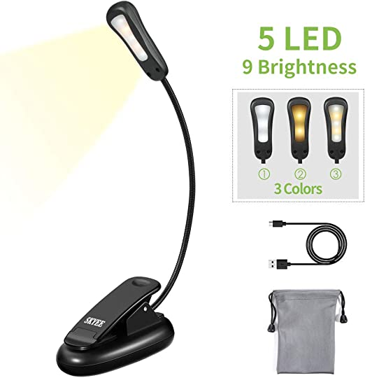 SKYEE LED Reading Light, Portable Book Light 5 LEDs 9 Levels Brightness with 3 Modes (Warm, White, Warm&White Light), USB Rechargeable, Music Stand