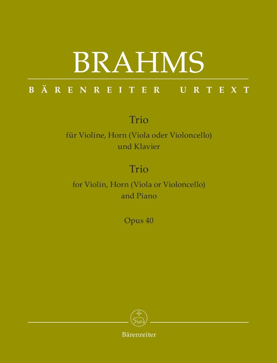 Trio für Violine, Horn (Viola oder Violoncello) und Klavier op. 40. Spielpartitur, Stimmensatz, Urtextausgabe (Anglais) Broché – février 2012 Johannes Brahms Bärenreiter Verlag B0071LQ3WU Musikalien