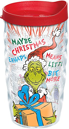 Tervis 1124464 Dr. Seuss - Good Grinch Tumbler with Wrap and Red Lid 10oz Wavy, Clear