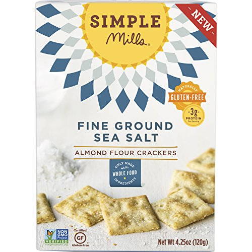 Simple Mills Fine Ground Sea Salt Almond Flour Snack Crackers, Gluten Free, Vegan, Paleo, Natural 4.25 ounce (Pack of 3)