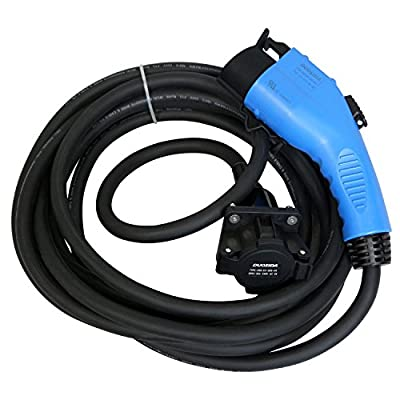 DUOSIDA Blue Premium 25 Ft EV Electric Vehicle Extension Cable Charging Cord - SAE J1772 Connector 32-AMP 120-240V - Includes Storage Case