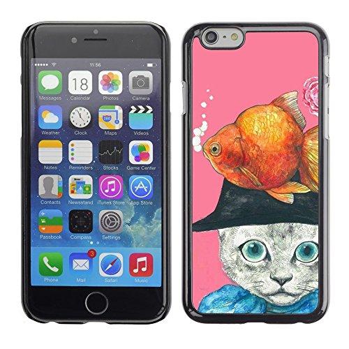 TopCaseStore / caoutchouc Hard Case Housse de protection la Peau - Gold Fish Cat Abstract Drawing - Apple iPhone 6 Plus 5.5