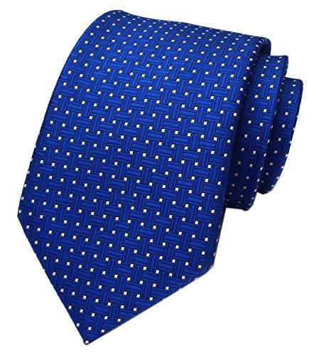Elfeves Men Navy Blue Neckties Vintage Silk Cravat Woven Leisure Design Ties