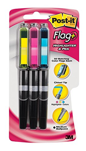 Post-it Flag+ Highlighter & Pen, 3-Pack in Yellow, Blue, Pink Highlighters with Flags, Black Ink