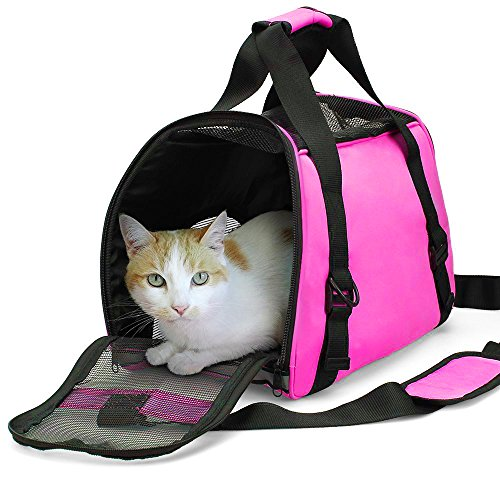 ZaneSun Cat Carrier,Soft-Sided Pet Travel Carrier for Small Cats,Dogs Puppy Comfort Portable Foldable Pet Bag Airline Approved (Pink)