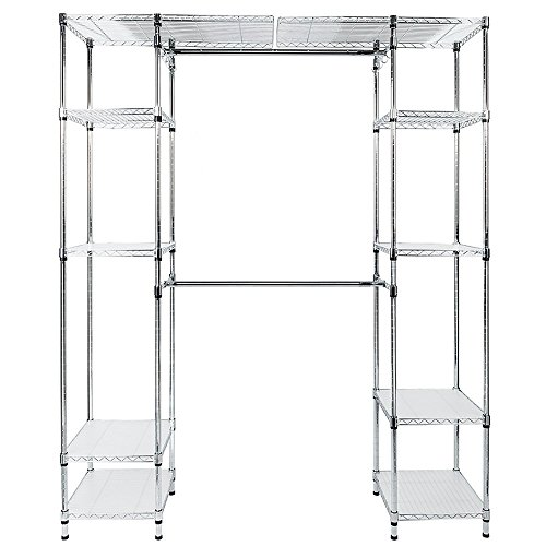 Bonnlo Closet Organizer Kit with Adjustable Shelves and Hangers Freestanding Wardrobe Rack Heavy Duty Wire Shelving Garment (Industrial Wire Shelving Kit)