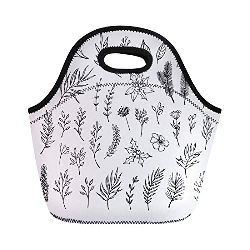Semtomn Neoprene Lunch Tote Bag Winter Laurel Leaf Poinsettia Holly Berry Flower Plant Christmas Reusable Cooler Bags Insulated Thermal Picnic Handbag for Travel,School,Outdoors,Work