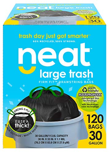 Neat 30 Gallon Drawstring Trash Bags - (MEGA 120 COUNT) - Triple Ply Fortified, Eco-Friendly 50% Recycled Material, Neutralize+ Odor Technology, Reversible Black and White Garbage - Recycled Materials