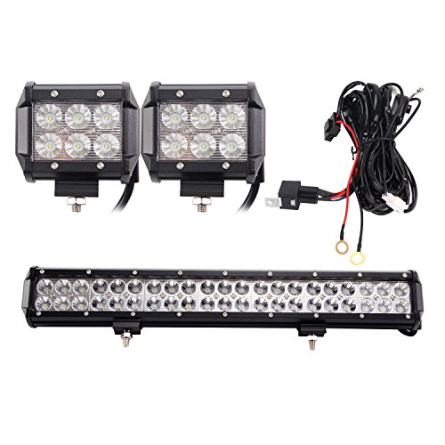 Led light bar senlips 21 126w cree leds flood spot combo beam led light bar senlips 21 126w cree leds flood spot combo beam light bar with 2 pcs 18w cree led pods flood light wiring harness for 120watt led light aloadofball Choice Image