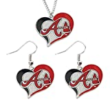 MLB Atlanta Braves Swirl Heart Necklace and Dangel Earring Set Charm Gift
