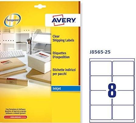 Avery J8563-25 Quickpeel Etichette 99.1 x 38.1 Trasparente 14 Pezzi per Foglio 25 Fogli