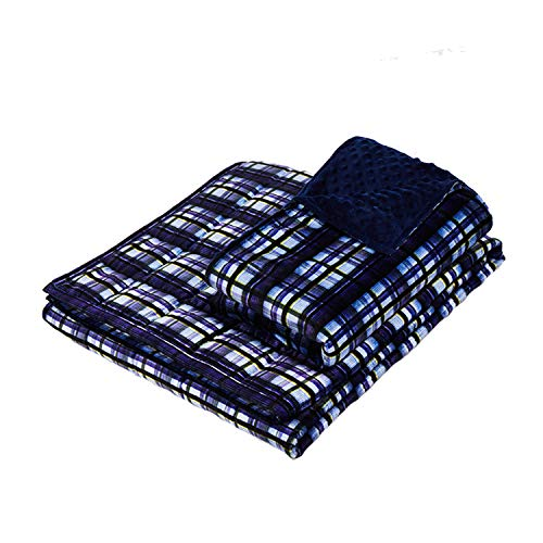 YnM Minky Weighted Blanket | 15lbs, 48''x 72'', Twin Size | 2.0 Fuzzy Sensory Blanket | Ultra-Soft Dotted Minky Material with Glass Beads | Perfect for Sensory Seekers, Navy Plaid Print -