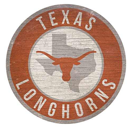 (Fan Creations Texas Longhorns Sign Wood 12 Inch Round State Design)