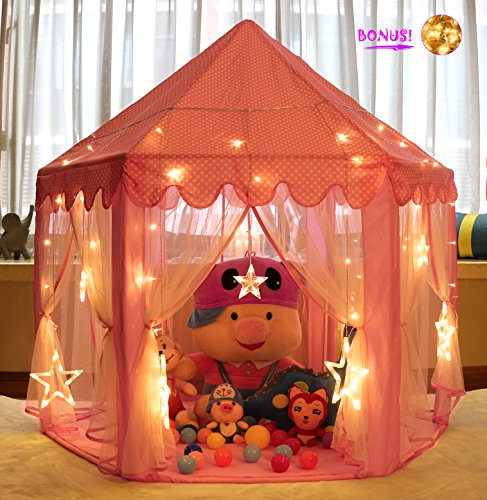 Monobeach Princess Tent Girls Large Playhouse Kids Castle Play Tent with 20 Feet Star Lights for Children Indoor and Outdoor Games, 55'' x 53'' (Girls Tent)