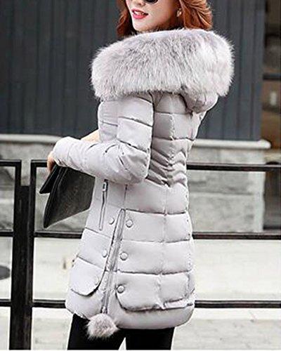 Dianshao Calde Con Giacche Invernali Cappotti Lungo Grigio Cappotto Donne Cappuccio Trapuntate Spessore Di FFxTrwq5