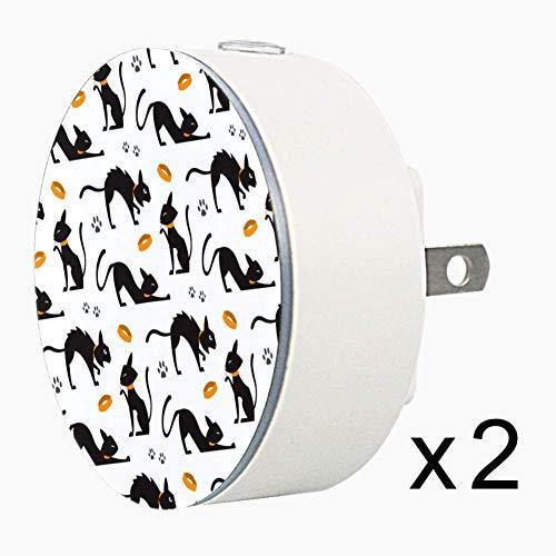 CHINFY Halloween Black Cats Pattern Plug in Night Light Dusk to Dawn Auto Sensor LED Wall Light 2PC,Decorative Night for Bedroom, Bathroom, Kitchen, Hallway, Stairs,Hallway,Baby's Room, Energy Saving ()