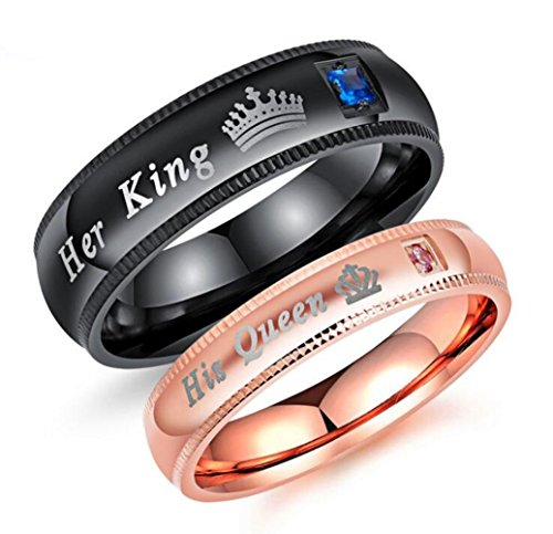 Mintik Her King His Queen Ring Stainless Steel Wedding Band Set His and Hers Couples Anniversary Engagement Promise Ring (Set Hers Ring)