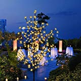 Ucharge LED Cherry Blossom Tree Lights, Lighted Christmas Tree Light 200 LEDs Warm Lights and Black Flexible Branches as Indoor/Outdoor Floral Decorations