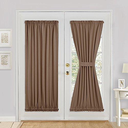 PONY DANCE Window Blackout Curtain - Premium Window Drape/Door Panel for French Door Easy Installation Light Block Privacy Protect with Tieback, 54