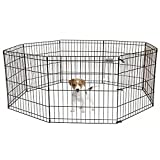 Pet Premium Dog Puppy Playpen Pen | Indoor Outdoor Exercise Play Yard Outside | Pet Small Animal Puppies Portable Foldable Fence Enclosures | 24″ Height, 8 Panel Metal Wire, Black Review