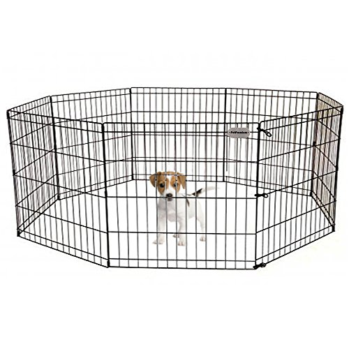 Ultimate Black Pen Exercise (PetPremium Dog Puppy Playpen Pen | Indoor Outdoor Exercise Play Yard Outside | Pet Small Animal Puppies Portable Foldable Fence Enclosures | 24