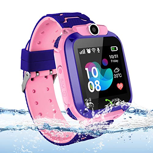 Themoemoe Kids Smart Watch Phone, Kids GPS Tracker Watch with SOS Anti-Lost Alarm Sim Card Slot Touch Screen Smartwatch for 3-12 Year Old Children Girls Boys (Pink)