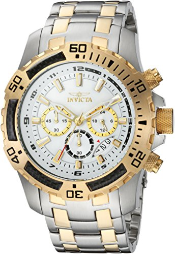 Invicta Men's Pro Diver Quartz Watch with Stainless-Steel Strap, Two Tone, 18.5 (Model: ()