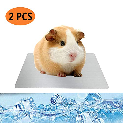 PeSandy Guinea Pig Cooling Pad, 2PCS Dwarf Hamster Cooling Pad Pet Cooling Mat for Guinea Pig Hamster Gerbils & Other Small Pets Stay Cool This Summer – Bite Resistance Pet Cool Plate Ice Bed
