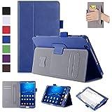 MaxKu NTTドコモ dtab Compact d-01J ケース高級PUレザーケース カバー 手帳型 軽量 全面保護型 スタンド機能付き スマートカバー (ブルー)