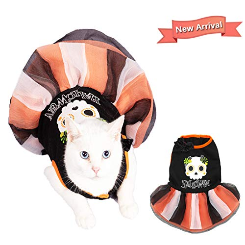 kyeese Halloween Dog Dress for Small Dogs 3-Layer Tutu Dress with Skull Printing Cat Dress Holiday